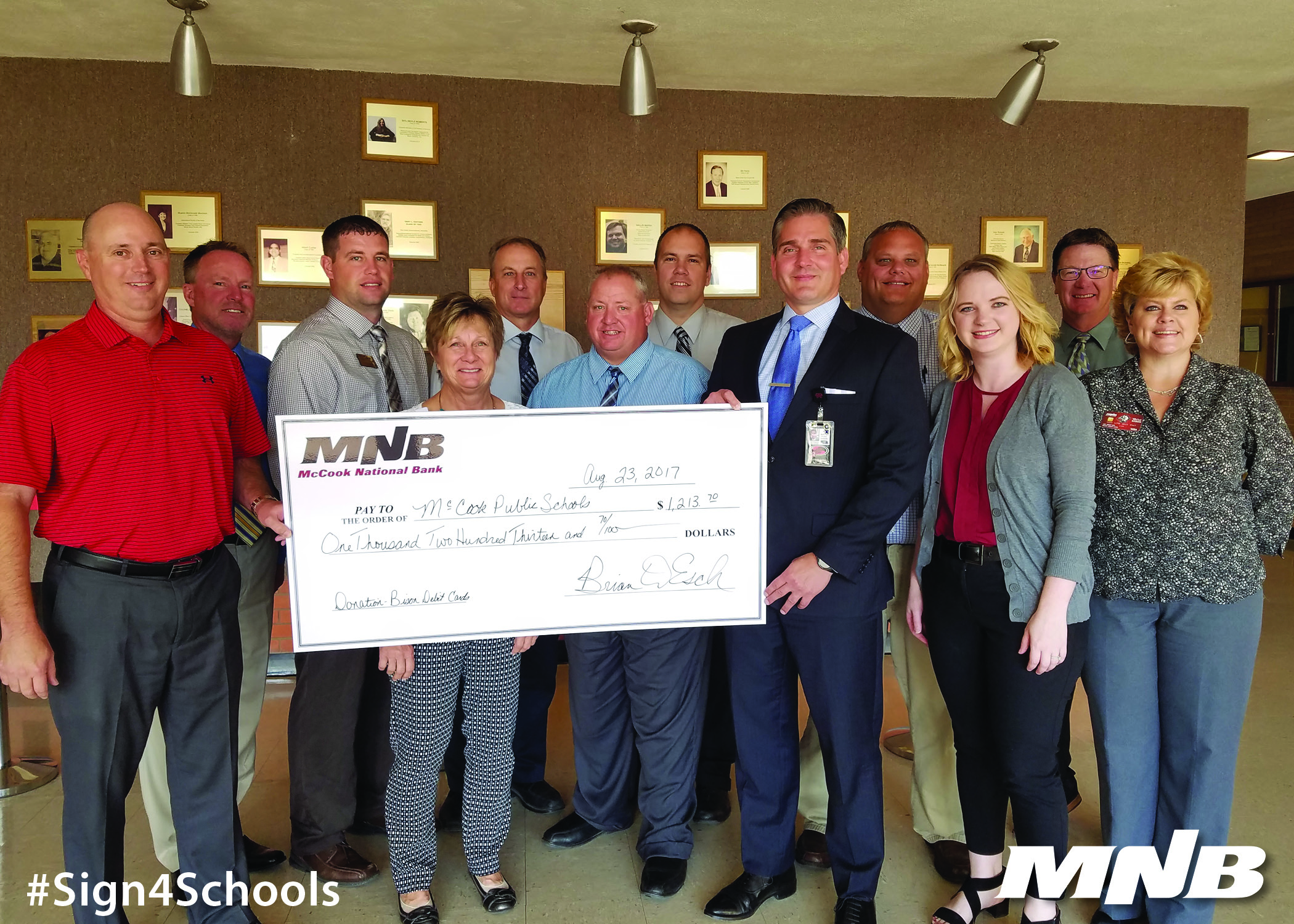 McCook Public School Receives Donation from MNB Bison Debit Card Program