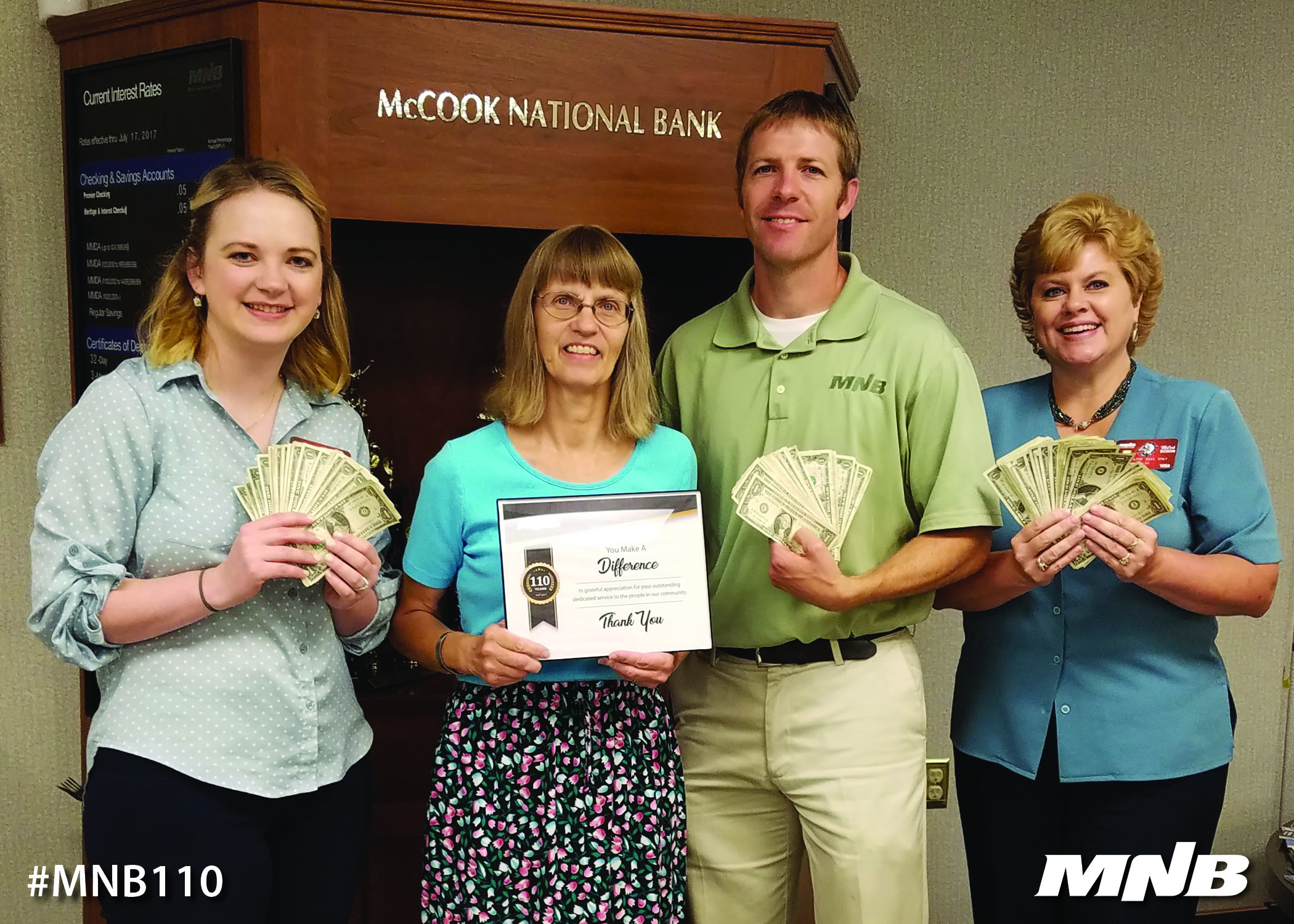 MNB presents $110 donation to Southwest Nebraska Family Resource Center