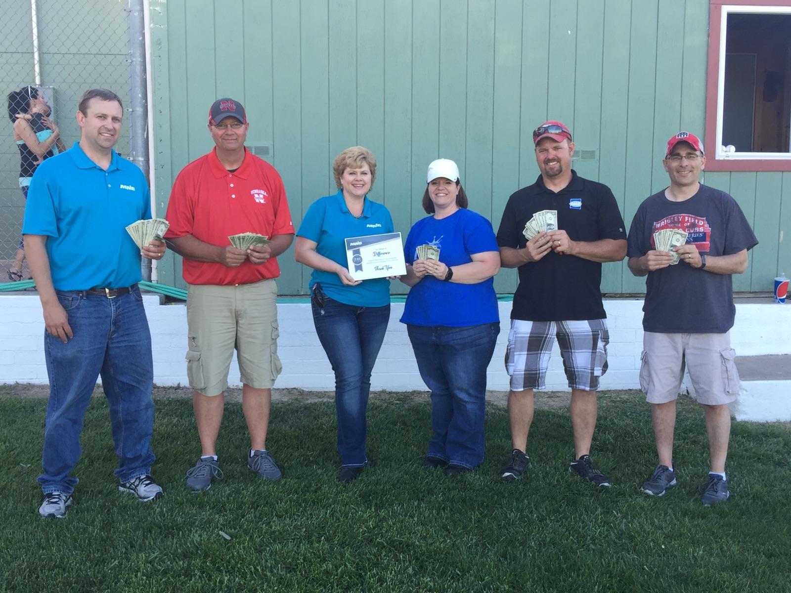 MNB Presents $110 Donation to McCook Midget Baseball